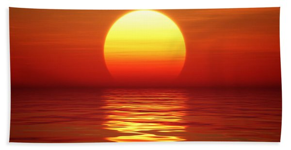 Sunset Over Tranqual Water Beach Towel