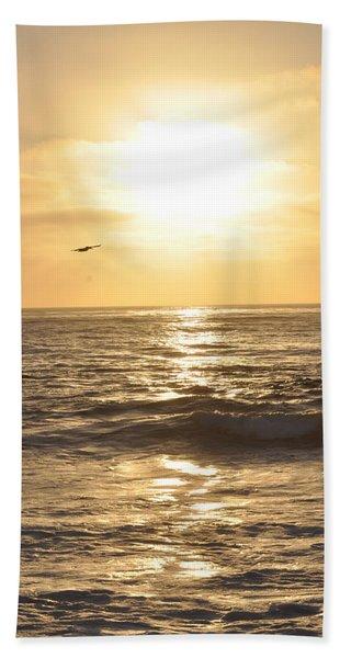 Sunset Pelican Silhouette Beach Towel