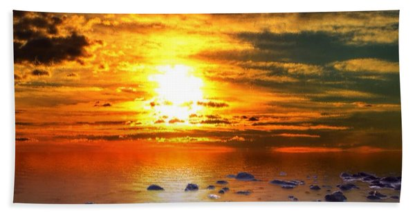 Beach Towel featuring the painting Sunset Shoreline by Mark Taylor