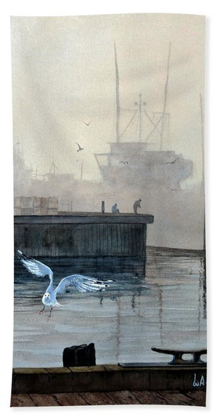 Sunup At The Docks Beach Towel