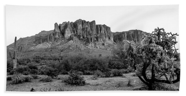 Superstition Mountain B/w Beach Towel
