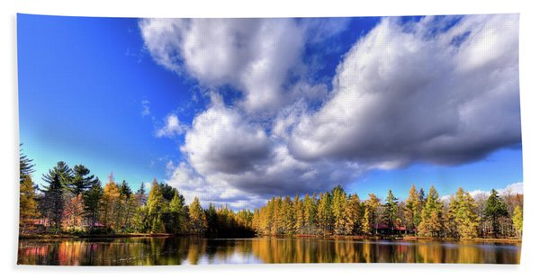 Tamarack Reflections In The Adirondacks Beach Sheet