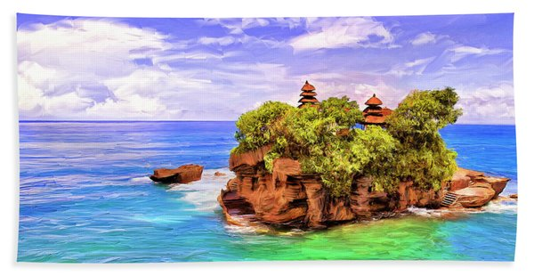 Tanah Lot Temple Bali Beach Towel