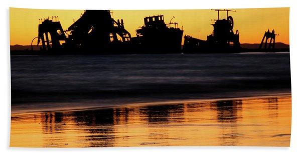 Tangalooma Wrecks Sunset Silhouette Beach Towel