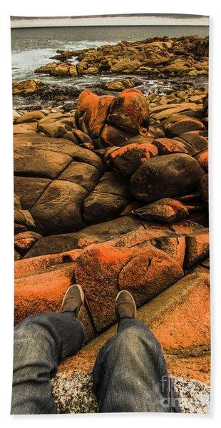 Tasmanian Tourist Kicking Back  Beach Towel