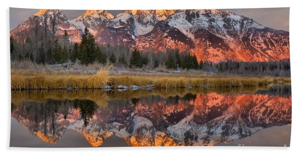 Teton Mountains Sunrise Rainbow Beach Towel