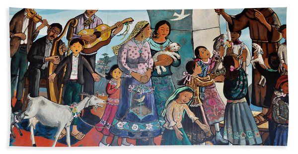 The Blessing Of Animals Olvera Street Beach Towel