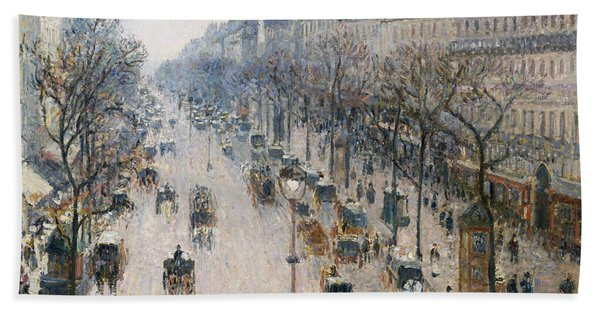The Boulevard Montmartre On A Winter Morning, 1897  Beach Towel