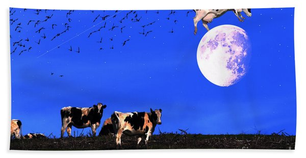 The Cow Jumped Over The Moon Beach Towel