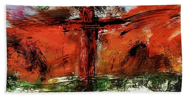 Beach Towel featuring the mixed media The Crucifixion #1 by Michael Lucarelli