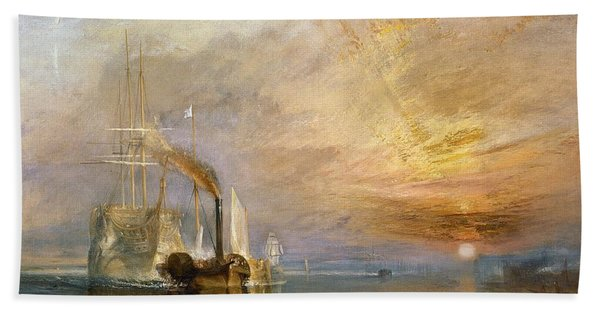 The Fighting Temeraire Tugged To Her Last Berth To Be Broken Up Beach Towel