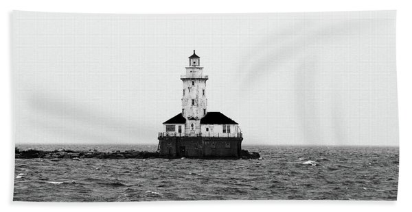 The Lighthouse Black And White Beach Towel