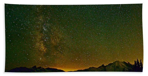 The Milky Way And Mt. Rainier Beach Towel
