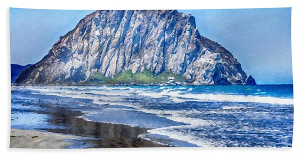 Beach Towel featuring the mixed media Morro Rock Canvas Print,photographic Print,art Print,framed Print,greeting Card,iphone Case, by David Millenheft