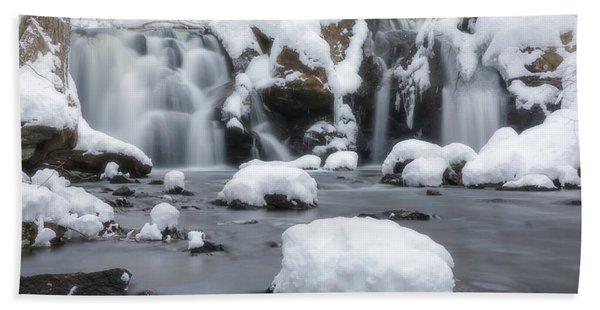 The Secret Waterfall In Winter 1 Beach Towel