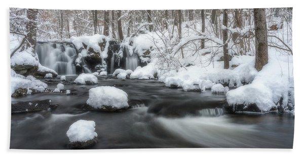 The Secret Waterfall In Winter 2 Beach Towel