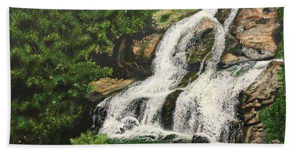 The Shivana Samuthra Falls, Karnataka, India Beach Towel