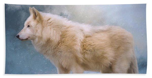 The Spirit Within - Arctic Wolf Art Beach Sheet