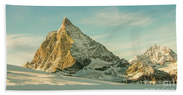 The Sun Sets Over The Matterhorn Beach Towel