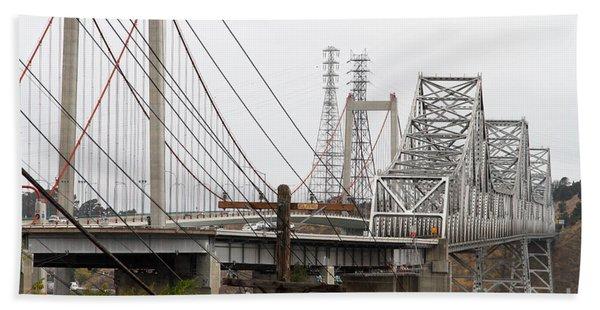 The Two Carquinez Bridges At Crockett And Vallejo California . Aka Alfred Zampa Memorial Bridge . 7d8919 Beach Towel