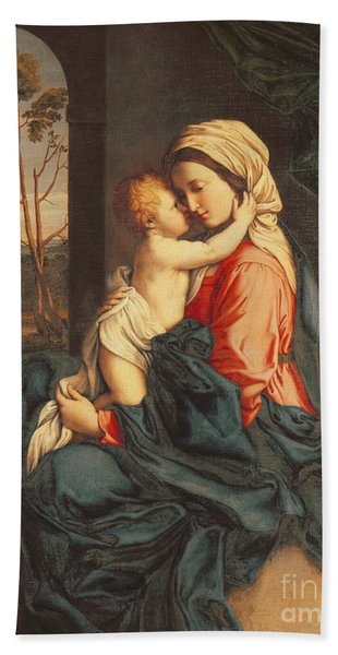 The Virgin And Child Embracing Beach Towel