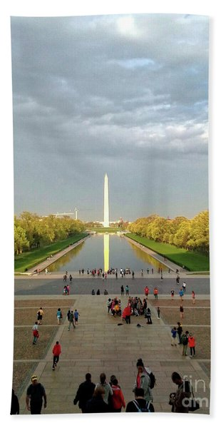 The Washington Monument And The Reflecting Pool Beach Towel