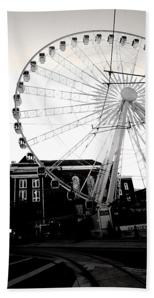 The Wheel Black And White Beach Towel