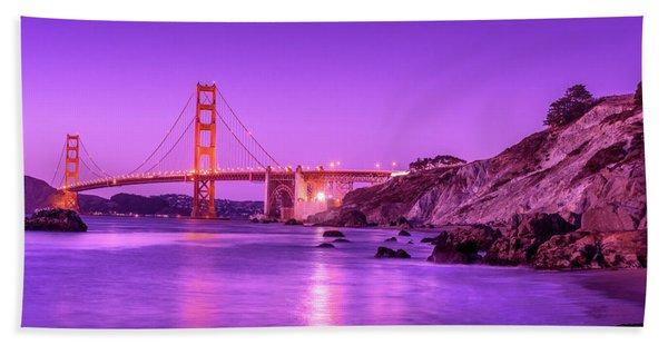 Golden Gate Bridge At Night Beach Towel