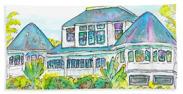 Thistle Lodge Pen Ink And Watercolor Beach Towel