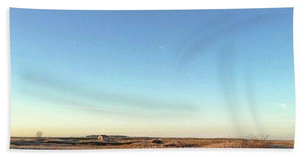 Thornham Marsh Lit By The Setting Sun Beach Towel