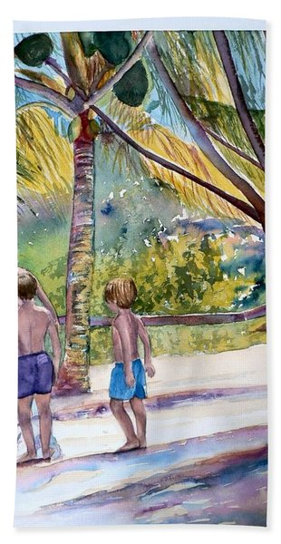 Three Boys Climbing Beach Sheet