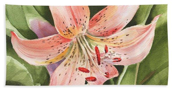 Tiger Lily Watercolor By Irina Sztukowski Beach Sheet