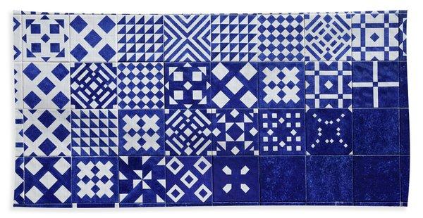 Tile Blue Background Beach Towel
