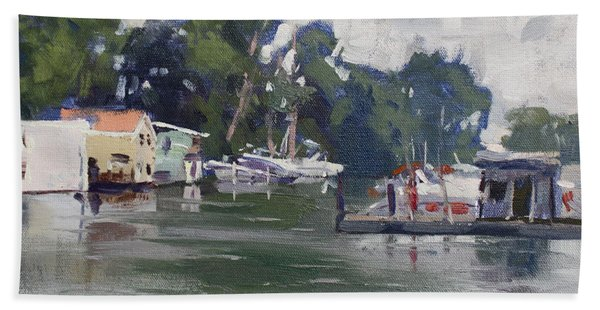 Today's Plein Air Workshop Demonstration At Wardell Boat Yard Beach Towel