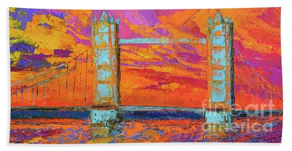 Tower Bridge Colorful Painting, Under Vibrant Sunset Beach Sheet