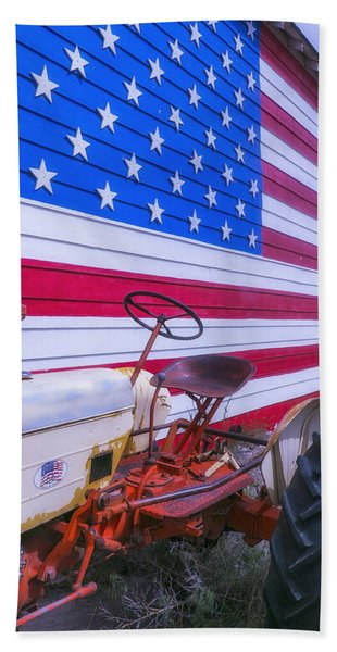 Tractor And Large Flag Beach Towel