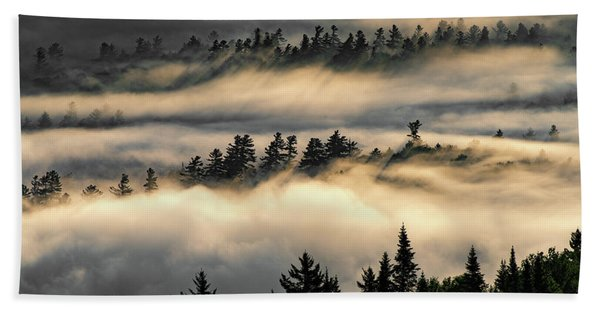Trees In The Clouds Beach Towel