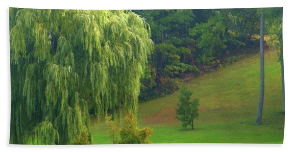Trees Along Hill Beach Towel