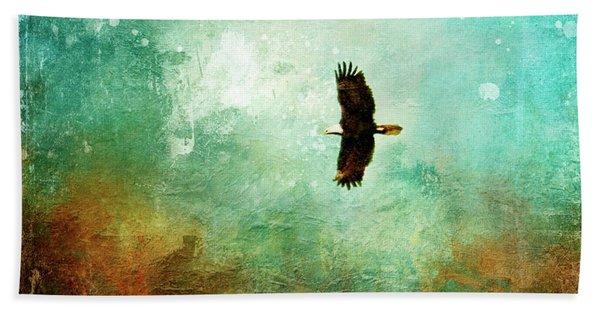 Treetop Eagle Flight Beach Towel