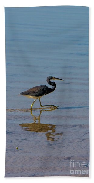 Tricolored Heron Taking A Stroll Beach Towel