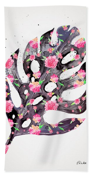 Tropical Leaf - Philodendron Black Pink Beach Towel
