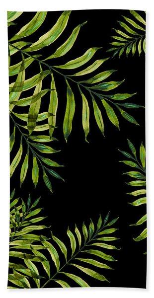 Tropical Night - Greenery On Black Beach Towel