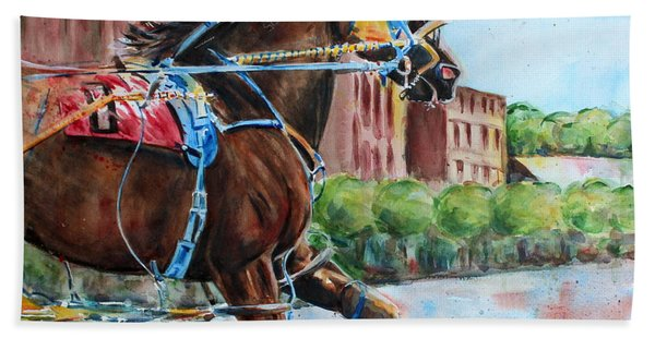trotter standardbred Horse at the Little Brown Jug Beach Towel