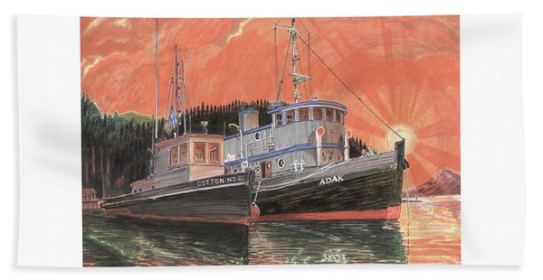Tug Boats Anchored In Red Sky Beach Towel