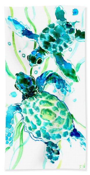 Turquoise Indigo Sea Turtles Beach Towel