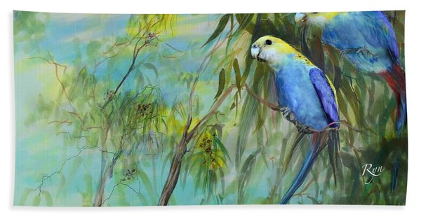 Two Pale-faced Rosellas Beach Towel