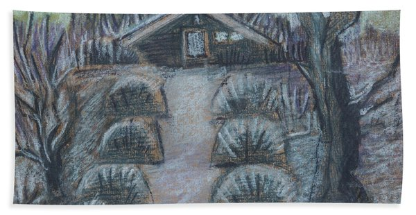 Twilight In Garden, Illustration Beach Towel