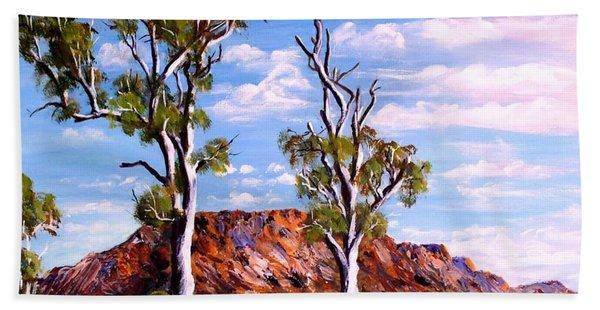 Twin Ghost Gums Of Central Australia Beach Sheet