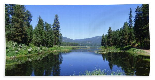 Twin Lakes Reflection Beach Towel