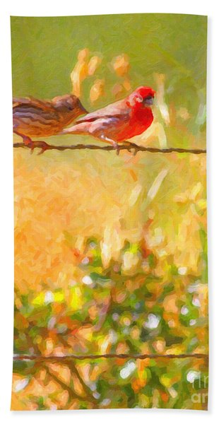 Two Birds On A Wire Beach Towel